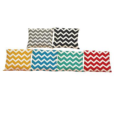 6 szt Bielizna Pokrywa Pillow Poszewka na poduszkę,Geometryczny Stały Textured Styl plażowy Tradycyjny / Classic Wałek