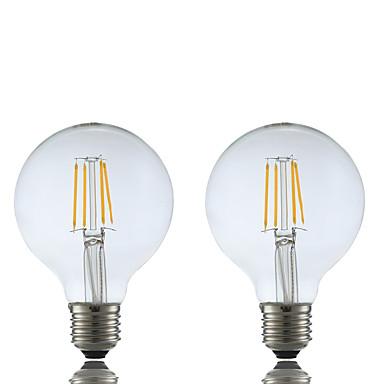 GMY® 2pcs 4W 400lm E26 / E27 Żarówka dekoracyjna LED G80 4 Koraliki LED COB Ciepła biel 220-240V / 2 sztuki / RoHs