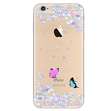 voordelige iPhone 7 hoesjes-hoesje Voor Apple iPhone 7 Plus / iPhone 7 / iPhone 6s Plus Ultradun / Patroon Achterkant Vlinder Zacht TPU