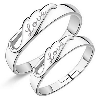 Inele Nuntă Petrecere Zilnic Casual Bijuterii Argilă Inele Cuplu Inele Midi Inel Inel de logodna 1 pereche,Ajustabil Argint