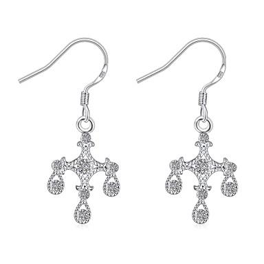 Cubic Zirconia Κρεμαστά Σκουλαρίκια Κοσμήματα Γυναικεία Καθημερινά Causal Ζιρκονίτης Χαλκός Επάργυρο 1 ζευγάρι Ασημί
