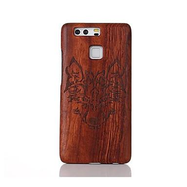 Kılıf Na Huawei P9 Huawei P9 Lite Huawei Odporne na wstrząsy Wytłaczany wzór Wzór Czarne etui Zwierzę Twarde Drewniany na