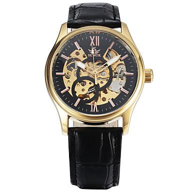 Erkek Spor Saat Elbise Saat Moda Saat Bilek Saati mekanik izle Otomatik kendi hareketli Gerçek Deri Bant İhtişam Günlük Çok-Renkli