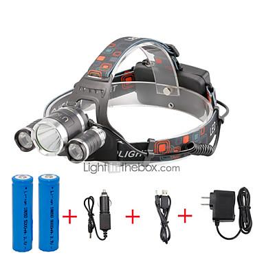 U'King Kafa Lambaları Far LED 2000 lm 4.0 Kip LED Piller ve Şarj Aletleri ile Kolay Taşınır Kompakt Boyut Kamp/Yürüyüş/Mağaracılık Günlük