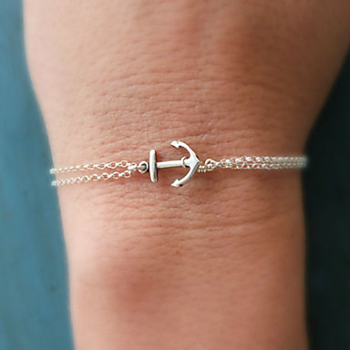Damskie Bransoletki i łańcuszki na rękę Podstawowy Ręcznie Wykonane Modny Podwójna warstwa Stop Kotwica Biżuteria Prezenty