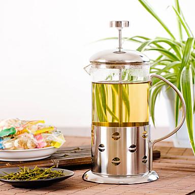 ml Paslanmaz Çelik Cam Fransız basın , 3 su bardağı kokulu Çay Maker Yeniden kullanılabilir
