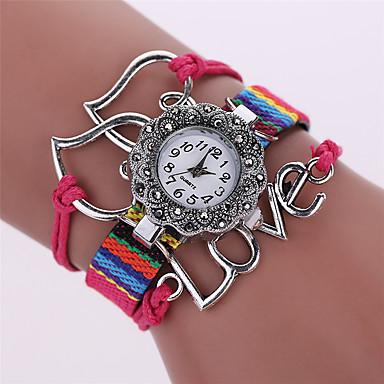 Kadın's Moda Saat Bilezik Saat Quartz Alaşım Bant Heart Shape Günlük Siyah Beyaz Mavi Kahverengi Pembe