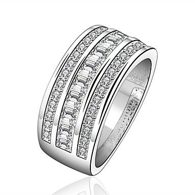 Κρίκοι Καθημερινά Causal Κοσμήματα Ζιρκονίτης Χαλκός Επάργυρο Δαχτυλίδι 1pc,7 8 Ασημί
