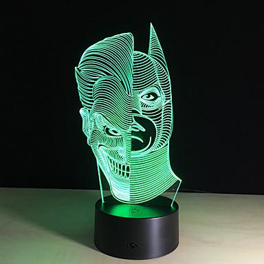 1 قطعة ليلة 3D تحكم عن بعد ليلة الرؤية قياس صغير لون التغير فني LED الحديثة / المعاصرة