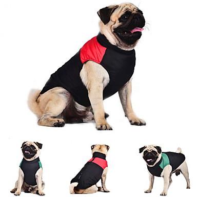 Kat Hond Jassen Gilet Hondenkleding Houd Warm Kleurenblok Rood Groen Blauw Kostuum Voor huisdieren