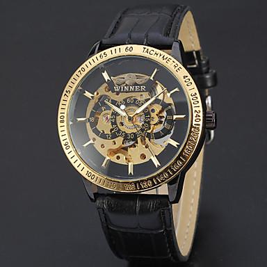 Ανδρικά Αθλητικό Ρολόι Ρολόι Φορέματος Διάφανο Ρολόι Μοδάτο Ρολόι Ρολόι Καρπού μηχανικό ρολόι Αυτόματο κούρδισμα Γνήσιο δέρμα Μπάντα