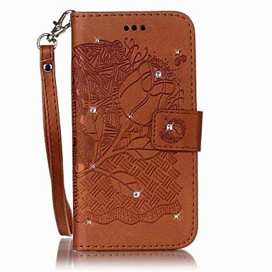tok Για Samsung Galaxy J7 (2016) J5 (2016) Πορτοφόλι Θήκη καρτών Στρας Ανοιγόμενη Ανάγλυφη Πλήρης κάλυψη Λουλούδι Σκληρή PU Δέρμα για J7