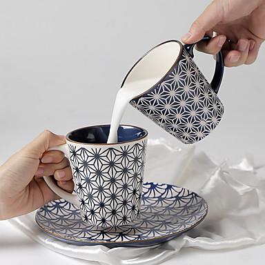 Eski Tip Minimalizm Bardak Takımı, 350 ml Basit Geometrik Desen Modellendirme girlfriend Hediye Seramik Meyve suyu Süt Kahve Kupaları