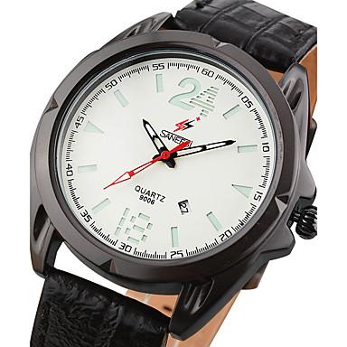 Męskie Modny Zegarek na nadgarstek Kwarcowy Kalendarz Skóra Pasmo Nowoczesne Na co dzień Kreatywne Czarny Brązowy Szary