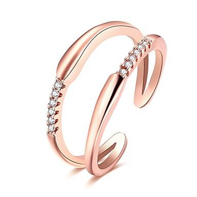 Damskie Pierscionek Gold Silver Różowe złoto Cyrkon Miedź Posrebrzany Imitacja diamentu Pokryte różowym złotem Luksusowy Otwarte