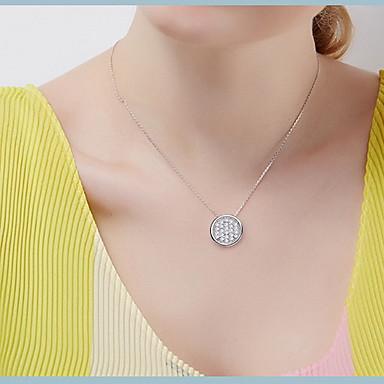 Naszyjniki z wisiorkami Round Shape Srebro standardowe Wiszący Podstawowy minimalistyczny styl Biżuteria Na Codzienny Casual