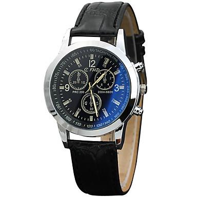 Erkek Moda Saat Bilek Saati Quartz PU Bant Havalı Günlük Siyah Kahverengi