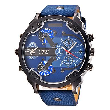 Bărbați Ceas Sport Ceas Militar  Ceas La Modă Ceas de Mână Quartz Calendar Zone Duale de Timp  Punk Mare Dial Piele Bandă Charm Vintage