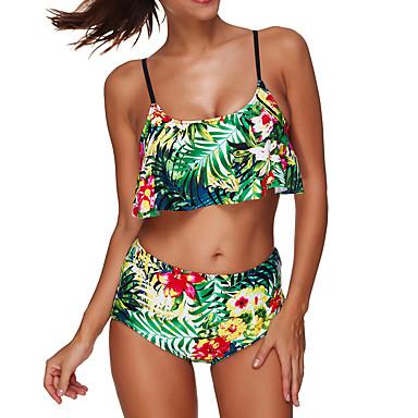 cheap Tankinis-Women's High Waist Floral Floral Halter Neck Green Yellow Bikini Swimwear - Floral XL XXL XXXL Green