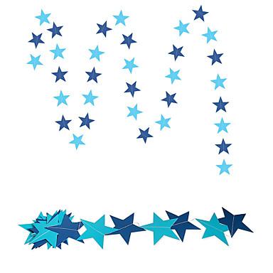 raylinedo® 1 قطعة 4 أمتار ورقة زرقاء إكليل عيد ميلاد عرس الذكرى حفلة المهرجانات غرفة الفتيات النجوم الديكور تشكيل 7 * 7cm و