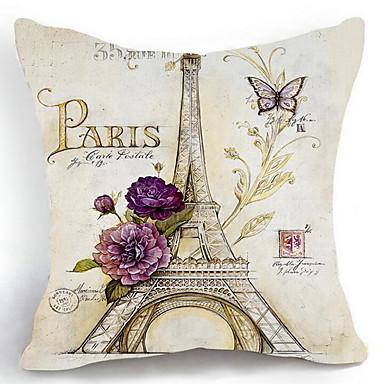 1 adet Pamuk/Keten Şal Battaniyeler Yastık Kılıfı, Şehirler Eiffel Kulesi Ülke Geleneksel/Klasik