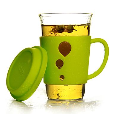 Şeffaf Bardak Takımı, 400 ml Isı Yalıtımlı Cam Silikon Meyve suyu Su Çay Fincanları