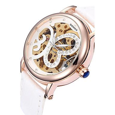 Erkek Spor Saat Elbise Saat İskelet Saat Moda Saat Bilek Saati mekanik izle Otomatik kendi hareketli Gerçek Deri Bant İhtişam Günlük