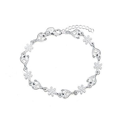 Damskie Posrebrzany Płatek śniegu Serce Bransoletki z breloczkami - Miłość Modny Silver Bransoletki Na Prezent