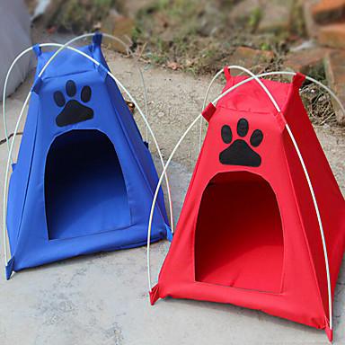 Γάτα Σκύλος Σκηνή Πτυσσόμενο Σκηνή Κόκκινο Μπλε Ύφασμα