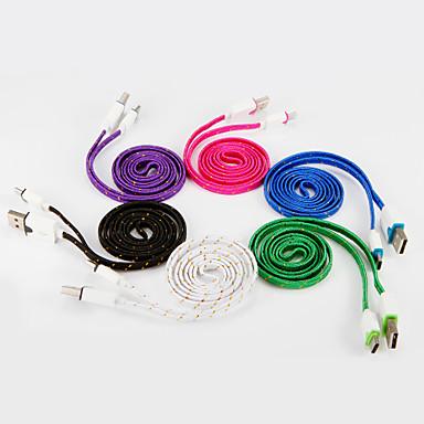 USB 2.0 C-tyypin USB-kaapelisovitin Tasapohja Punottu Kaapeli Käyttötarkoitus Samsung Huawei LG Nokia Lenovo Motorola Xiaomi HTC Sony 100
