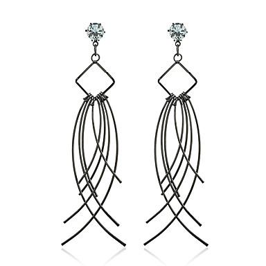 Γυναικεία θαυμαστής σκουλαρίκια Συνθετικό Diamond Ζιρκονίτης Κοσμήματα Γάμου Πάρτι Causal