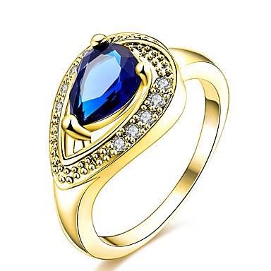 Naisten Sormus Tyylikkäät sormukset Yksilöllinen Geometrinen Uniikki Muoti Euramerican Kristalli Zirkoni Kupari Hopeoitu Gold Plated