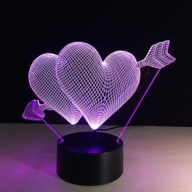 3D LED φως τη νύχτα 7 αλλάζει χρώμα piercing καρδιά δημιουργικό έλεγχο ή αφής διακόπτη απομακρυσμένο οδήγησε διακοσμήσετε λαμπτήρα ως δώρο