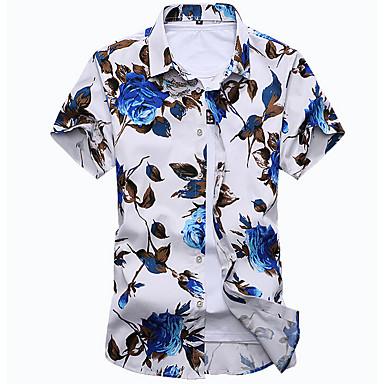 baratos Camisas Masculinas-Homens Camisa Social - Praia Boho Estampado, Floral Algodão Colarinho Clássico Delgado Branco XXXXL / Manga Curta / Verão