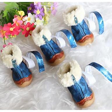Köpek Ayakkabılar ve Botlar Sevimli Kar Botları Solid Siyah Mavi Evcil hayvanlar için