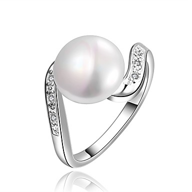 Κρίκοι Halloween Καθημερινά Causal Κοσμήματα Απομίμηση Μαργαριταριού Ζιρκονίτης Χαλκός Επάργυρο Δαχτυλίδι 1pc,7 8 Ασημί