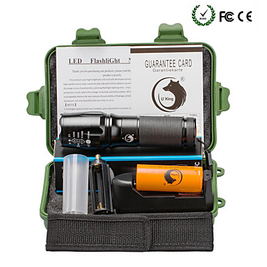 U'King Latarki LED LED 2000 lm 5 Tryb Cree XM-L T6 z baterią i ładowarką Zoomable Regulacja promienia Obóz/wycieczka/alpinizm jaskiniowy