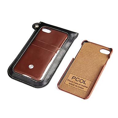 Για Θήκη καρτών tok Πίσω Κάλυμμα tok Μονόχρωμη Σκληρή Συνθετικό δέρμα για Apple iPhone 7 Plus iPhone 7