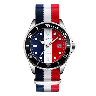 Erkek Bilek Saati Elbise Saat Moda Saat Japon Kuvartz Takvim Su Resisdansı Kumaş Bant Havalı Siyah Kırmızı