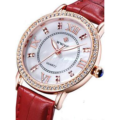 Damskie Modny Zegarek na nadgarstek Kwarcowy Skóra Pasmo Z Wisorkami Czarny Biały Czerwony Brązowy White Black Brown Czerwony