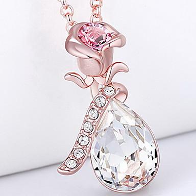 Naszyjniki z wisiorkami Kryształ Flower Shape Rose Kryształ Wiszący Podstawowy Biżuteria Na Codzienny Casual