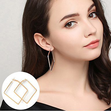 Naisten Korvarenkaat Korut Yksinkertainen Statement-korut minimalistisesta pukukorut Metalliseos Circle Shape Square Shape Geometric Shape