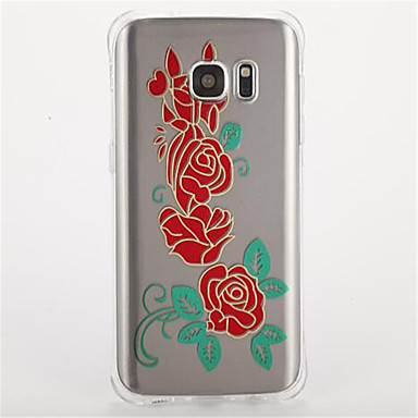Pouzdro Uyumluluk Samsung Galaxy S7 edge S7 Şoka Dayanıklı Temalı Arka Kılıf Çiçek Yumuşak TPU için S7 edge S7 S6 S5