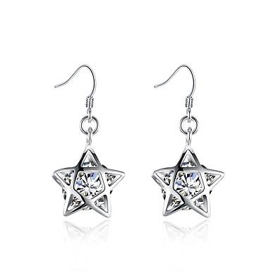 Damskie Dla dziewczynek Kolczyki zwisają Kryształ Modny Posrebrzany Star Shape Biżuteria Na Ślub Impreza Codzienny Casual