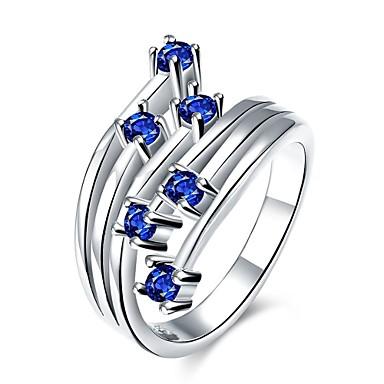 Pentru femei Inel Zirconiu Cubic Albastru Închis Mov Rosu Zirconiu Articole de ceramică Argilă Aliaj Geometric Shape Floare Personalizat