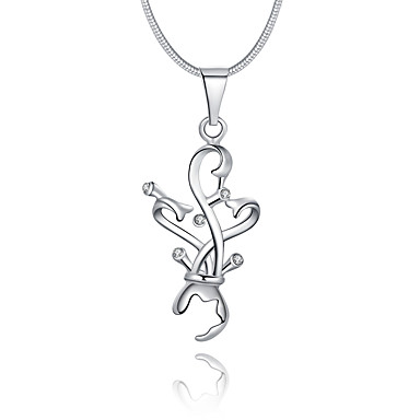 Kadın Geometric Shape Lüks Eşsiz Tasarım Logo Stili Sallantılı Stil Aşk Uçlu Kolyeler Som Gümüş Kristal Simüle Elmas Uçlu Kolyeler ,