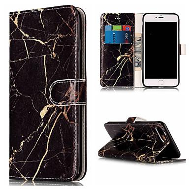 voordelige iPhone 5 hoesjes-hoesje Voor iPhone 7 / iPhone 7 Plus / iPhone 6s Plus Portemonnee / Kaarthouder / met standaard Volledig hoesje Marmer Hard PU-nahka voor iPhone SE / 5s