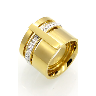 Bărbați Zirconiu Cubic Zirconiu Cubic / Oțel titan / 18K Aur Band Ring - Rotund / Geometric Shape Personalizat / Γεωμετρικά / Design