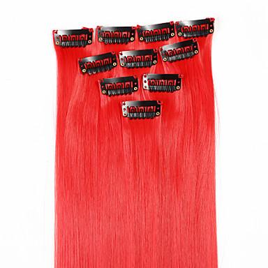 neitsi 10pcs 18inch έγχρωμη επισήμανση συνθετικών κλιπ για τα μαλλιά επεκτάσεις στο κόκκινο