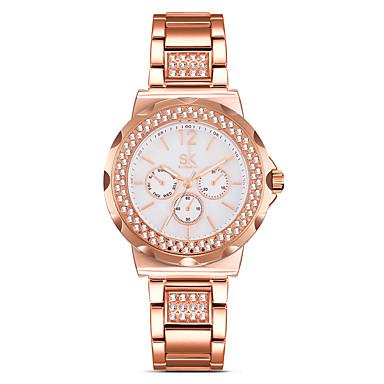 levne Pánské-SK Dámské Luxusní hodinky Náramkové hodinky Diamond Watch Křemenný Zlatá / Růžové zlato 30 m Voděodolné kreativita Odolný vůči nárazu Analogové dámy Přívěšky Vintage Simulovaná hodinky Diamond Módní